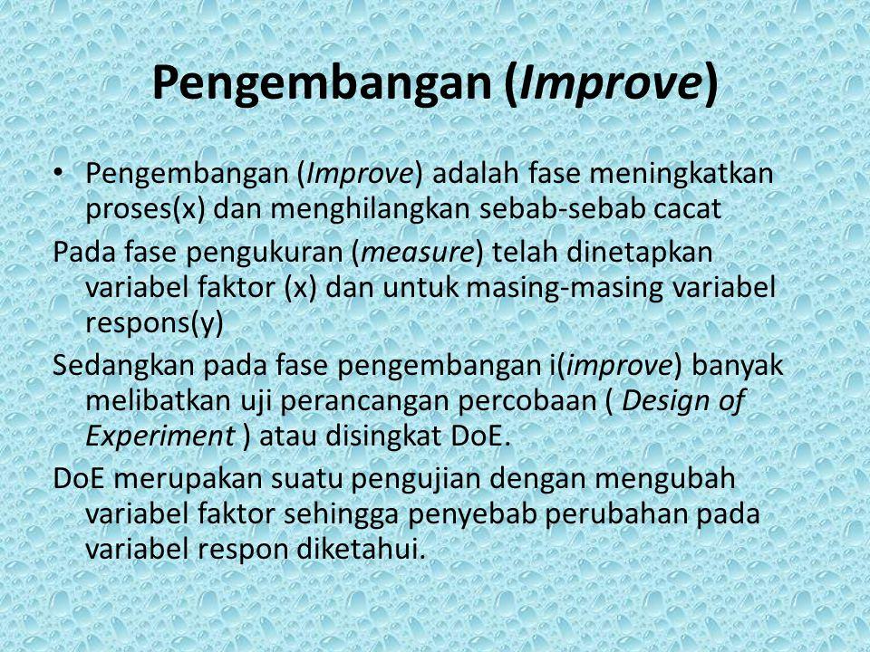 Pengembangan (Improve) Pengembangan (Improve) adalah fase meningkatkan proses(x) dan menghilangkan sebab-sebab cacat Pada fase pengukuran (measure) te