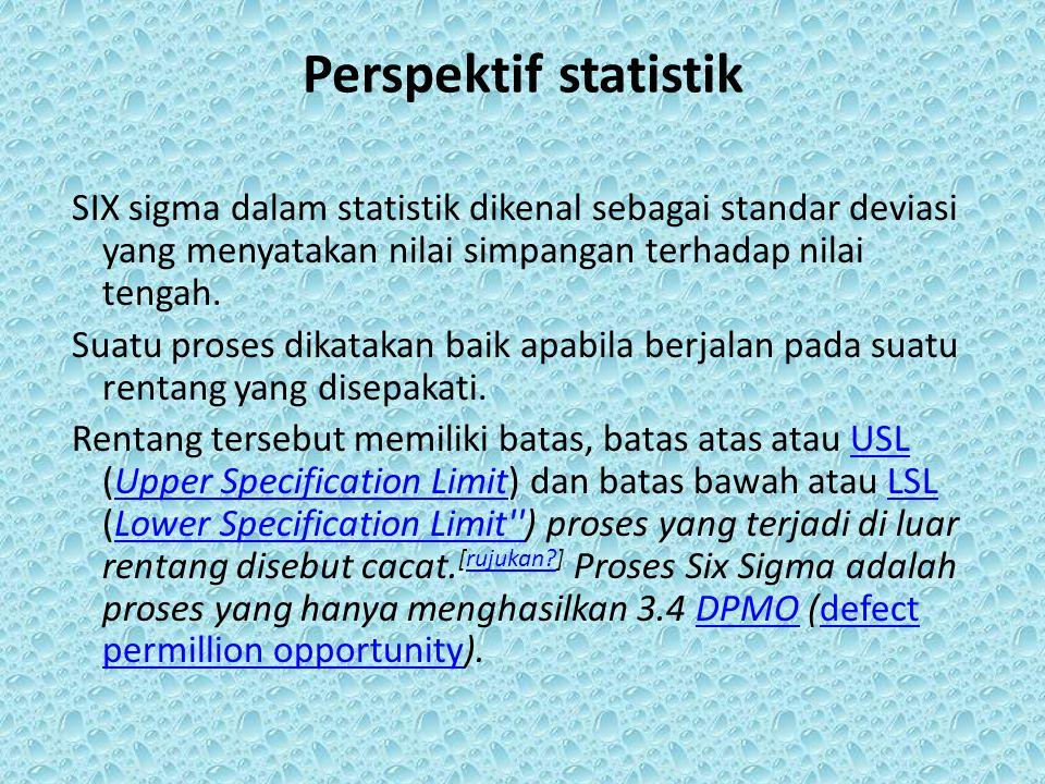 Perspektif statistik SIX sigma dalam statistik dikenal sebagai standar deviasi yang menyatakan nilai simpangan terhadap nilai tengah. Suatu proses dik