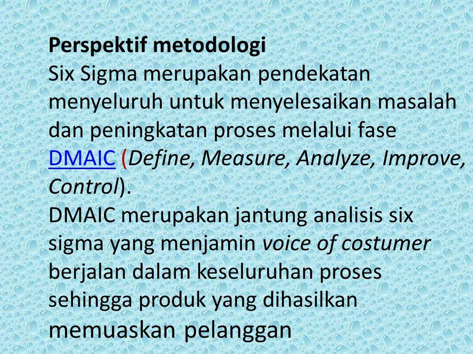 Perspektif metodologi Six Sigma merupakan pendekatan menyeluruh untuk menyelesaikan masalah dan peningkatan proses melalui fase DMAIC (Define, Measure