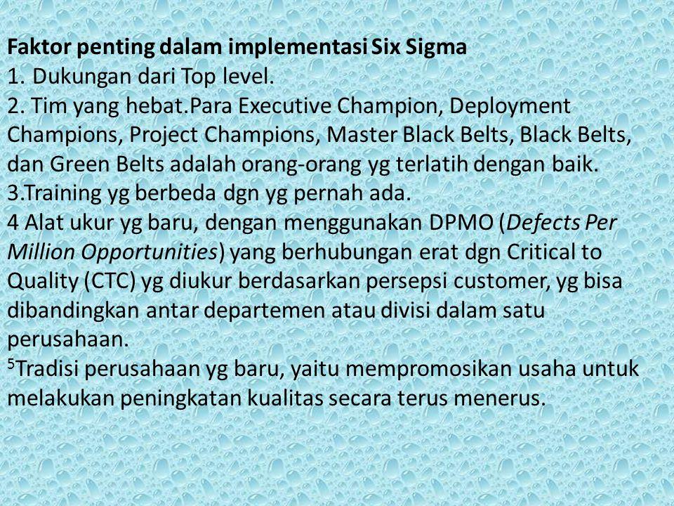 Faktor penting dalam implementasi Six Sigma 1.Dukungan dari Top level. 2. Tim yang hebat.Para Executive Champion, Deployment Champions, Project Champi
