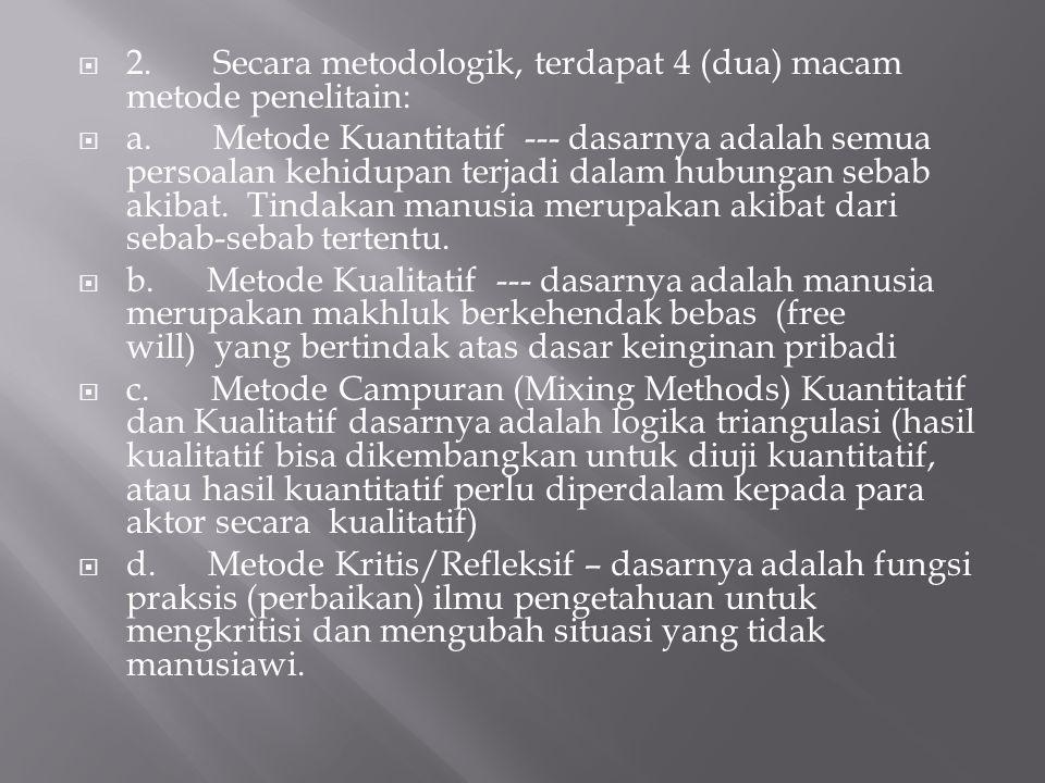  2. Secara metodologik, terdapat 4 (dua) macam metode penelitain:  a. Metode Kuantitatif --- dasarnya adalah semua persoalan kehidupan terjadi dalam