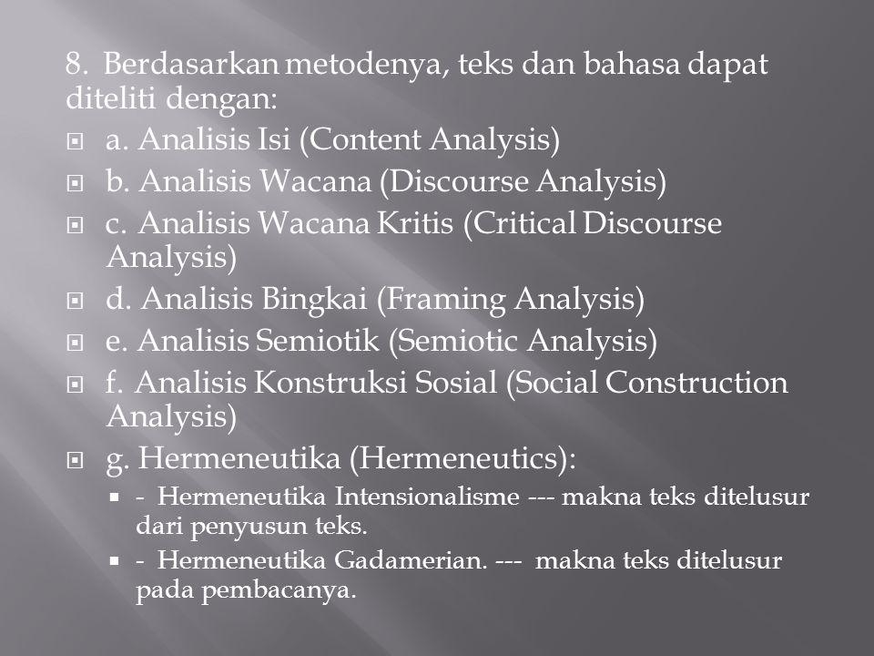 8. Berdasarkan metodenya, teks dan bahasa dapat diteliti dengan:  a. Analisis Isi (Content Analysis)  b. Analisis Wacana (Discourse Analysis)  c. A