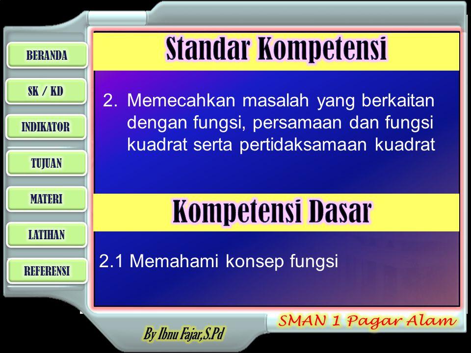 2. Memecahkan masalah yang berkaitan dengan fungsi, persamaan dan fungsi kuadrat serta pertidaksamaan kuadrat 2.1 Memahami konsep fungsi