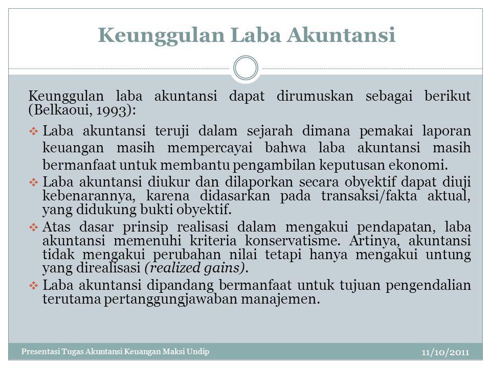 Keunggulan Laba Akuntansi 11/10/2011 Keunggulan laba akuntansi dapat dirumuskan sebagai berikut (Belkaoui, 1993):  Laba akuntansi teruji dalam sejara