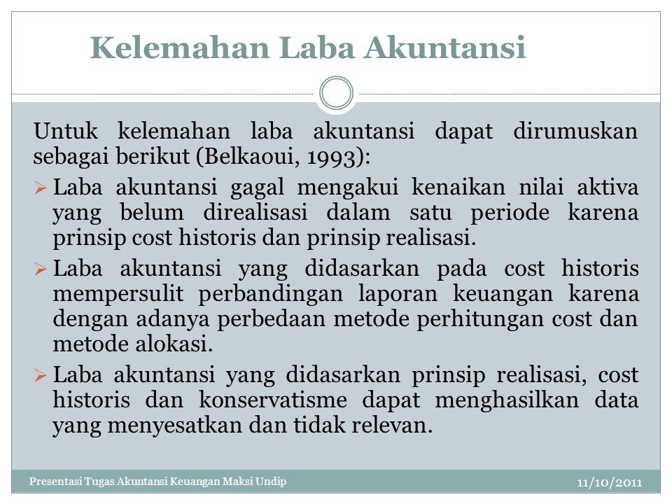 Kelemahan Laba Akuntansi 11/10/2011 Untuk kelemahan laba akuntansi dapat dirumuskan sebagai berikut (Belkaoui, 1993):  Laba akuntansi gagal mengakui