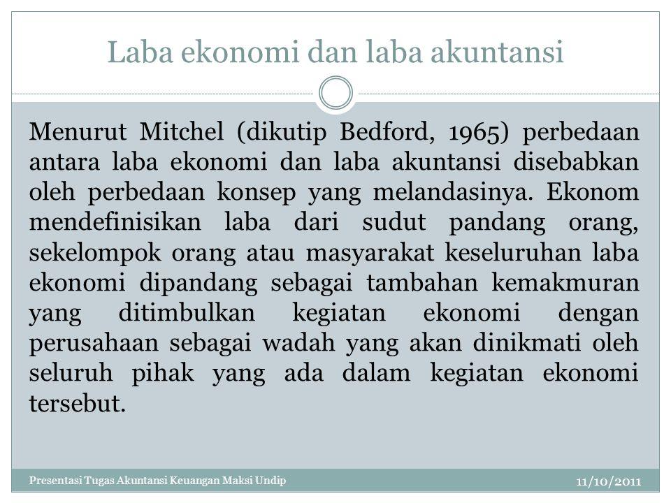 Laba ekonomi dan laba akuntansi 11/10/2011 Menurut Mitchel (dikutip Bedford, 1965) perbedaan antara laba ekonomi dan laba akuntansi disebabkan oleh pe