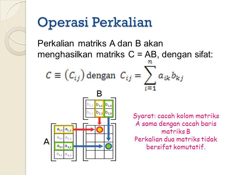 Operasi Perkalian Perkalian matriks A dan B akan menghasilkan matriks C = AB, dengan sifat: abcdefghijkalmsdsd Syarat: cacah kolom matriks A sama deng