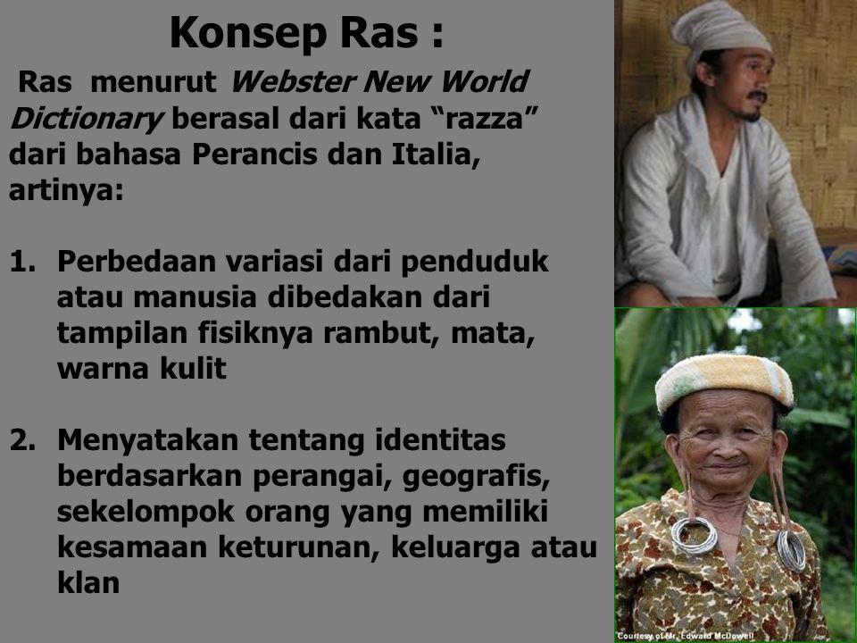 """Konsep Ras : Ras menurut Webster New World Dictionary berasal dari kata """"razza"""" dari bahasa Perancis dan Italia, artinya: 1.Perbedaan variasi dari pen"""