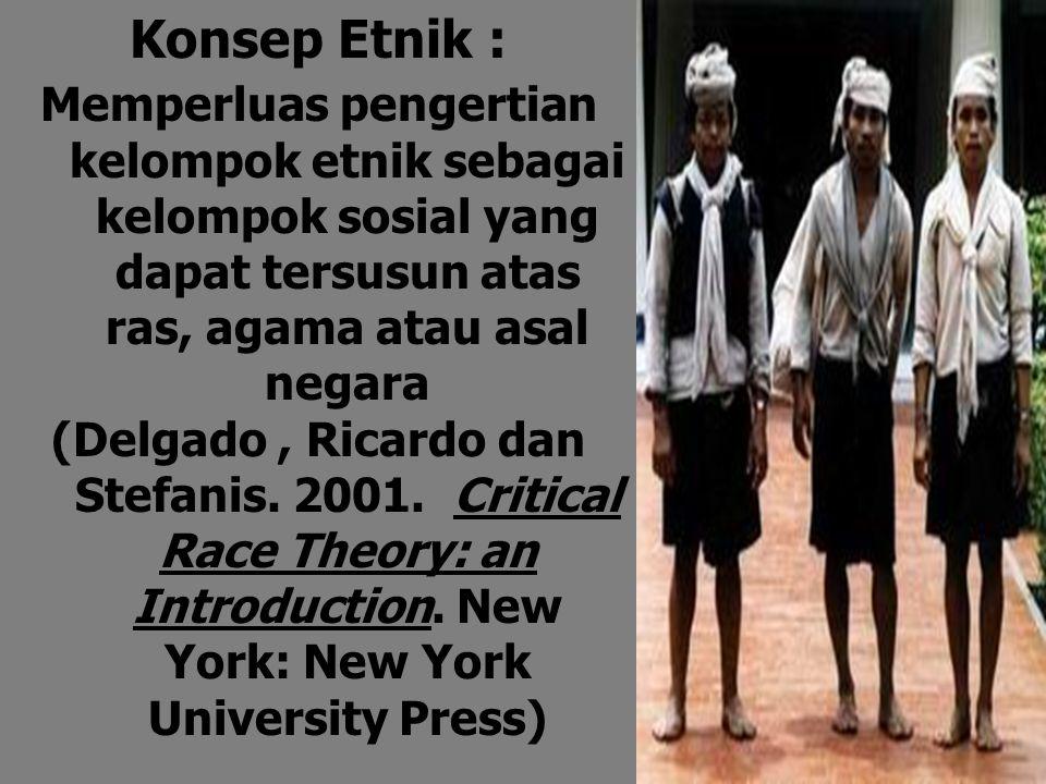 Konsep Etnik : Memperluas pengertian kelompok etnik sebagai kelompok sosial yang dapat tersusun atas ras, agama atau asal negara (Delgado, Ricardo dan Stefanis.