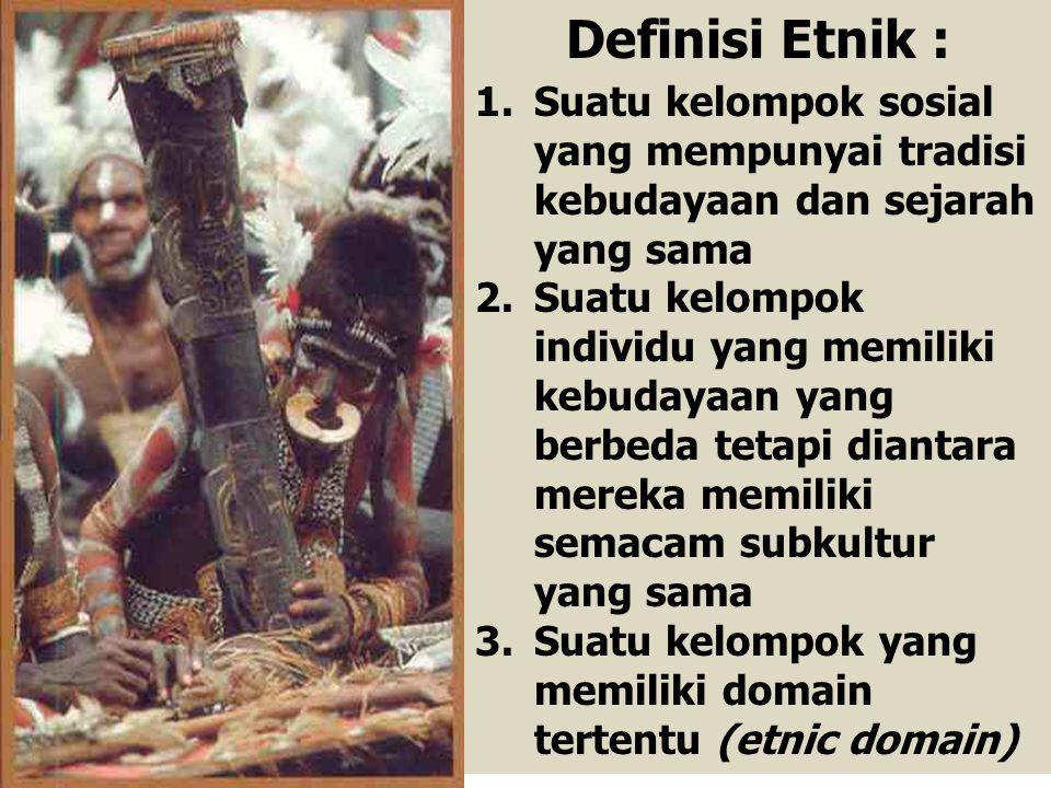 1.Suatu kelompok sosial yang mempunyai tradisi kebudayaan dan sejarah yang sama 2.Suatu kelompok individu yang memiliki kebudayaan yang berbeda tetapi diantara mereka memiliki semacam subkultur yang sama 3.Suatu kelompok yang memiliki domain tertentu (etnic domain) Definisi Etnik :