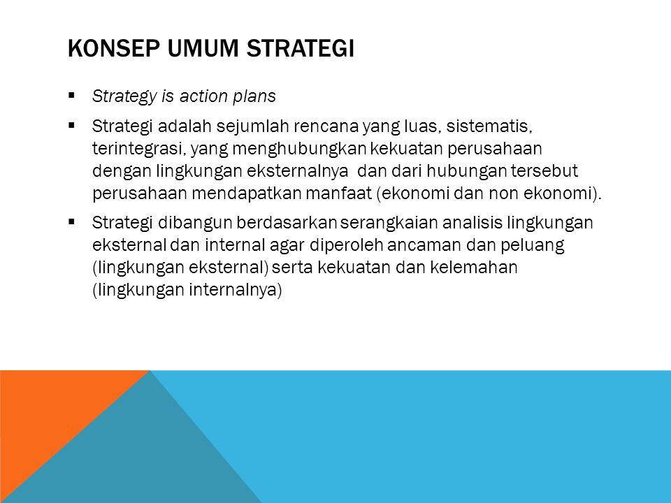 KONSEP UMUM STRATEGI  Strategy is action plans  Strategi adalah sejumlah rencana yang luas, sistematis, terintegrasi, yang menghubungkan kekuatan perusahaan dengan lingkungan eksternalnya dan dari hubungan tersebut perusahaan mendapatkan manfaat (ekonomi dan non ekonomi).