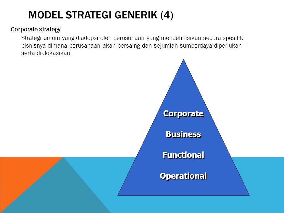 MODEL STRATEGI GENERIK (4) Corporate strategy Strategi umum yang diadopsi oleh perusahaan yang mendefinisikan secara spesifik bisnisnya dimana perusahaan akan bersaing dan sejumlah sumberdaya diperlukan serta dialokasikan.