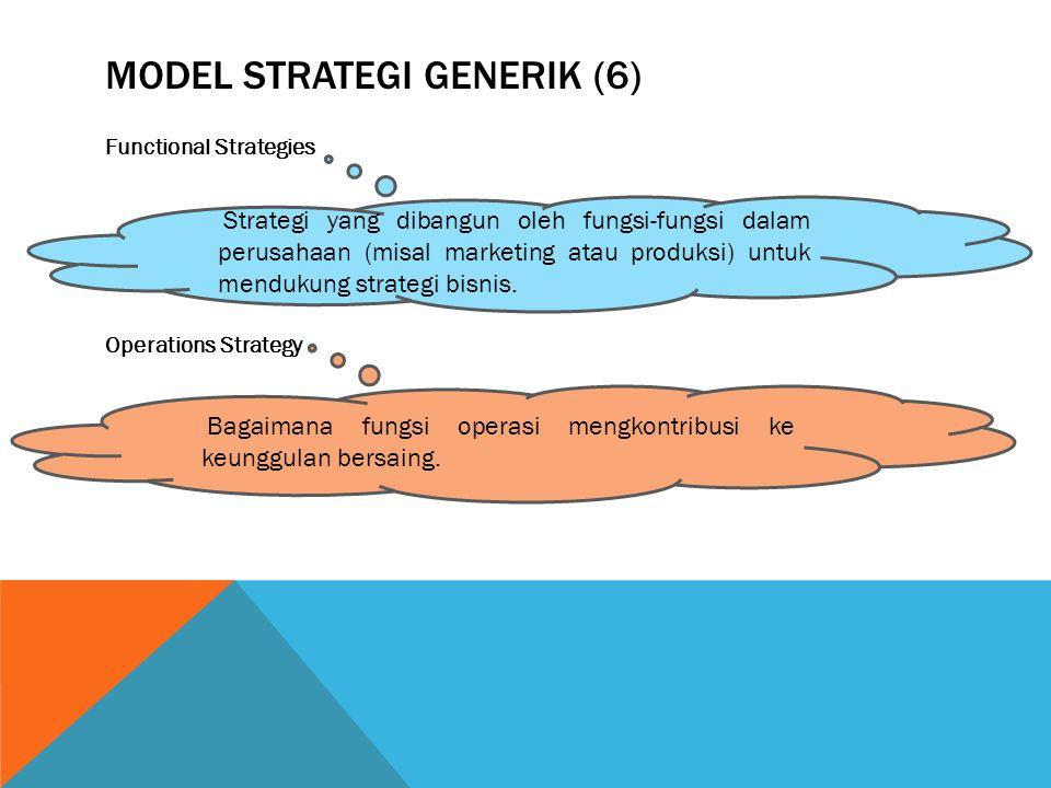 MODEL STRATEGI GENERIK (6) Functional Strategies Operations Strategy Strategi yang dibangun oleh fungsi-fungsi dalam perusahaan (misal marketing atau produksi) untuk mendukung strategi bisnis.