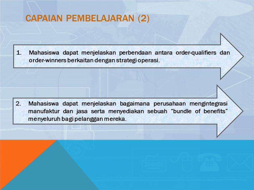 CAPAIAN PEMBELAJARAN (2) 1.Mahasiswa dapat menjelaskan perbendaan antara order-qualifiers dan order-winners berkaitan dengan strategi operasi. 2. Maha