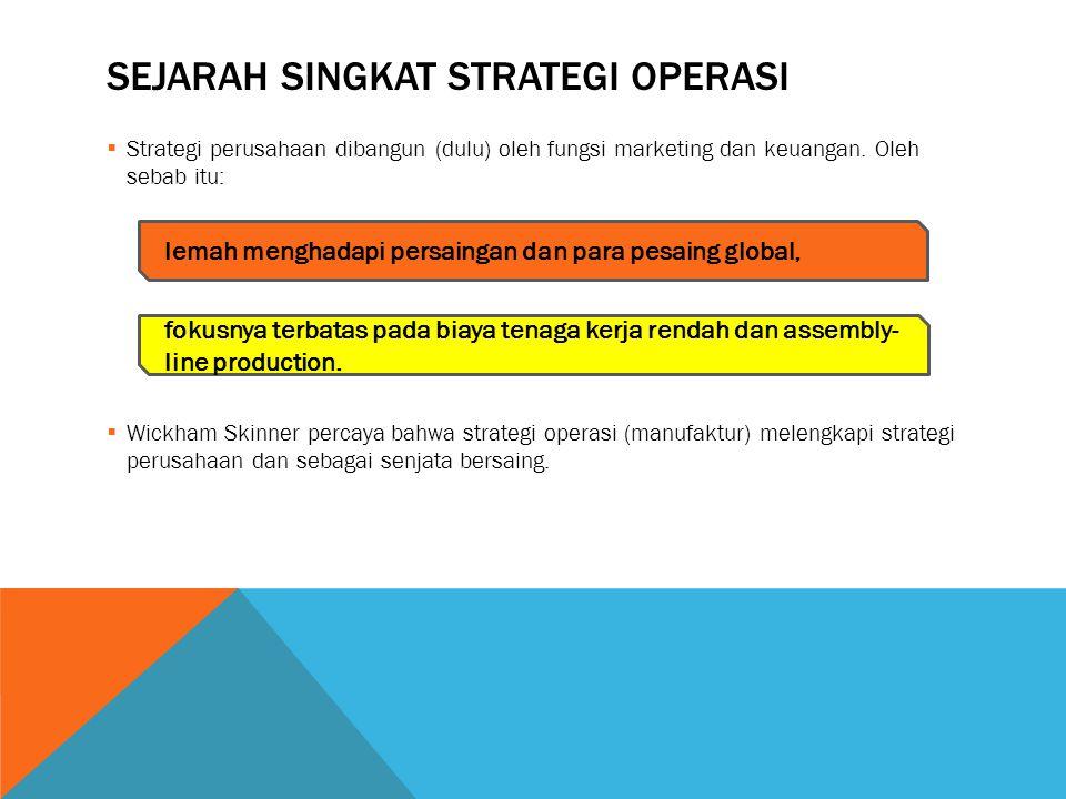 SEJARAH SINGKAT STRATEGI OPERASI  Strategi perusahaan dibangun (dulu) oleh fungsi marketing dan keuangan. Oleh sebab itu:  Wickham Skinner percaya b