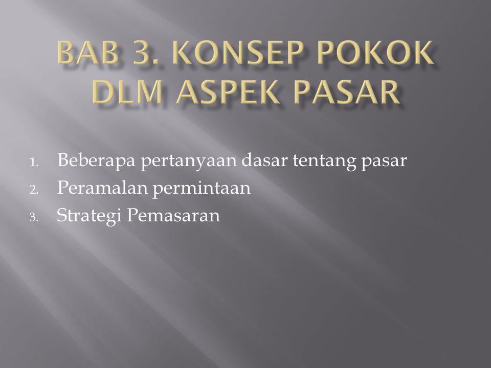 1. Beberapa pertanyaan dasar tentang pasar 2. Peramalan permintaan 3. Strategi Pemasaran
