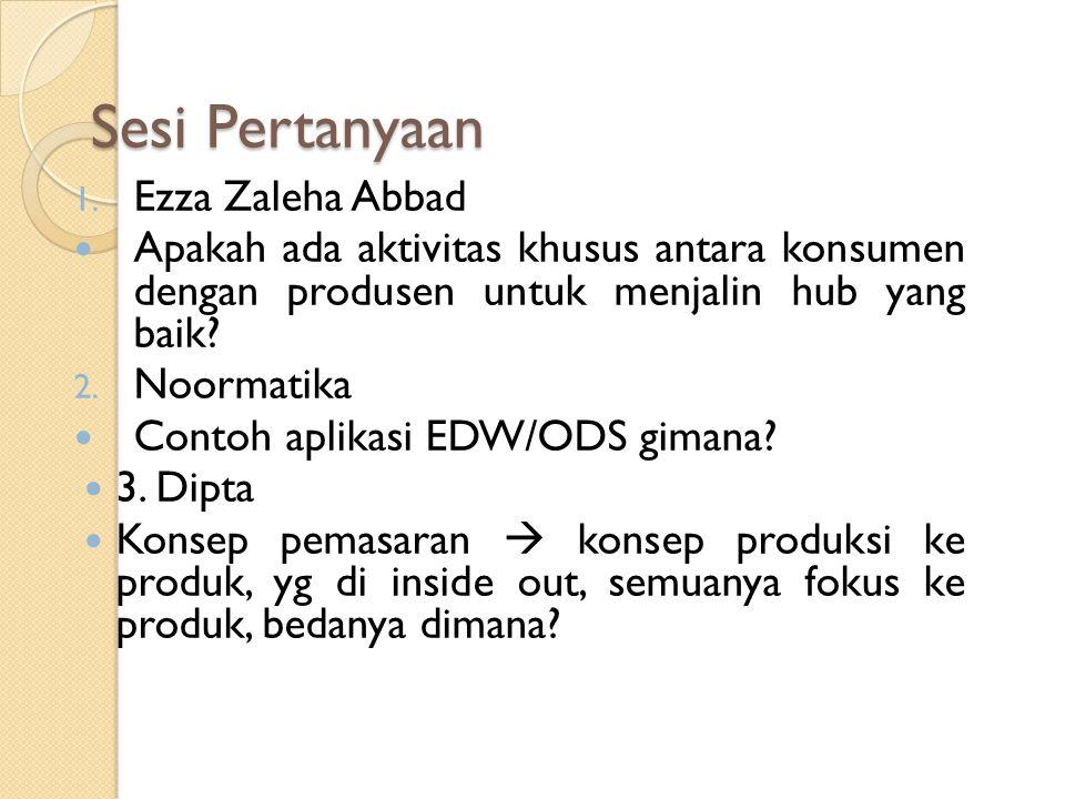 Sesi Pertanyaan 1. Ezza Zaleha Abbad Apakah ada aktivitas khusus antara konsumen dengan produsen untuk menjalin hub yang baik? 2. Noormatika Contoh ap