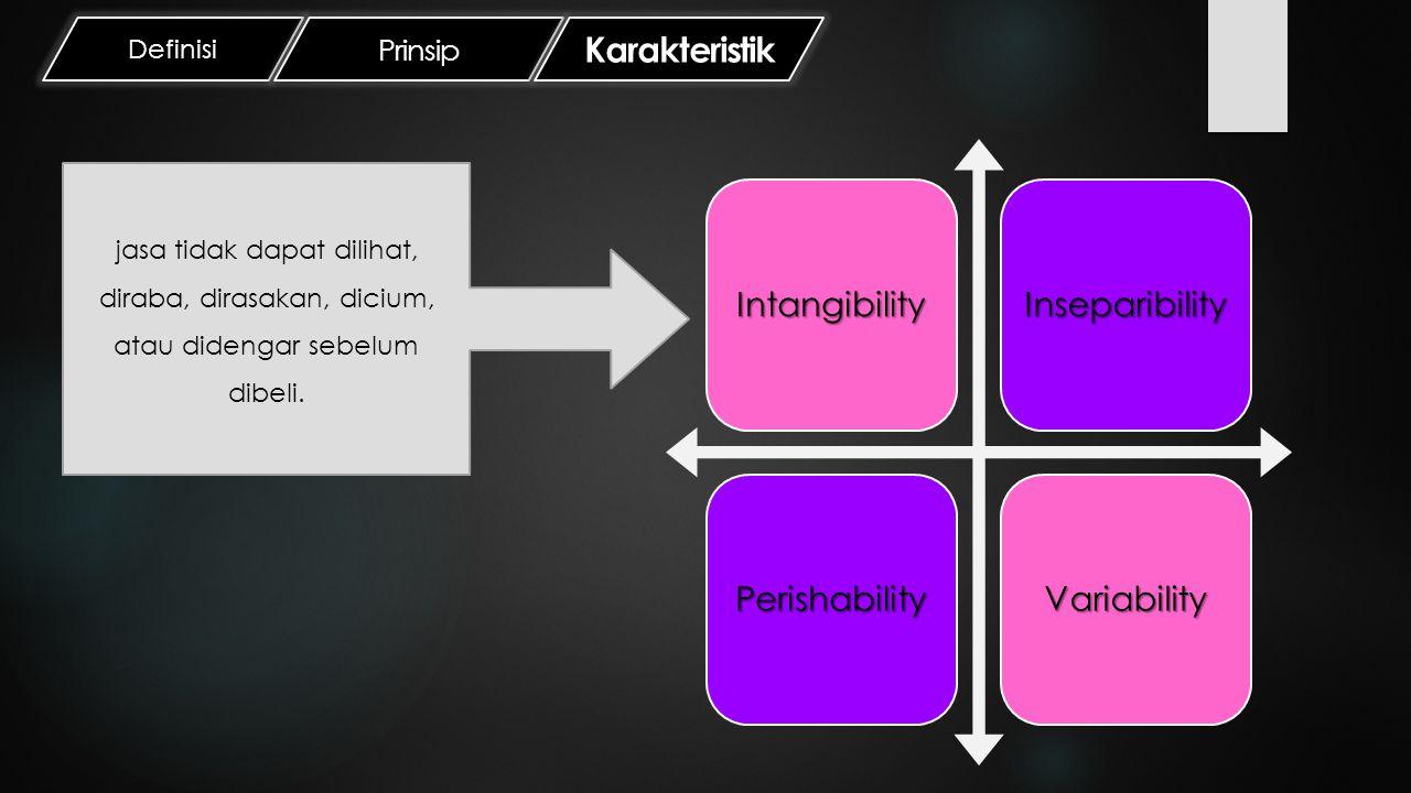 Definisi Prinsip Karakteristik IntangibilityInseparibilityPerishabilityVariability Kegiatan jasa tidak dapat dipisahkan dari pemberi jasa, baik perorangan ataupun organisasi serta perangkat mesin/teknologi