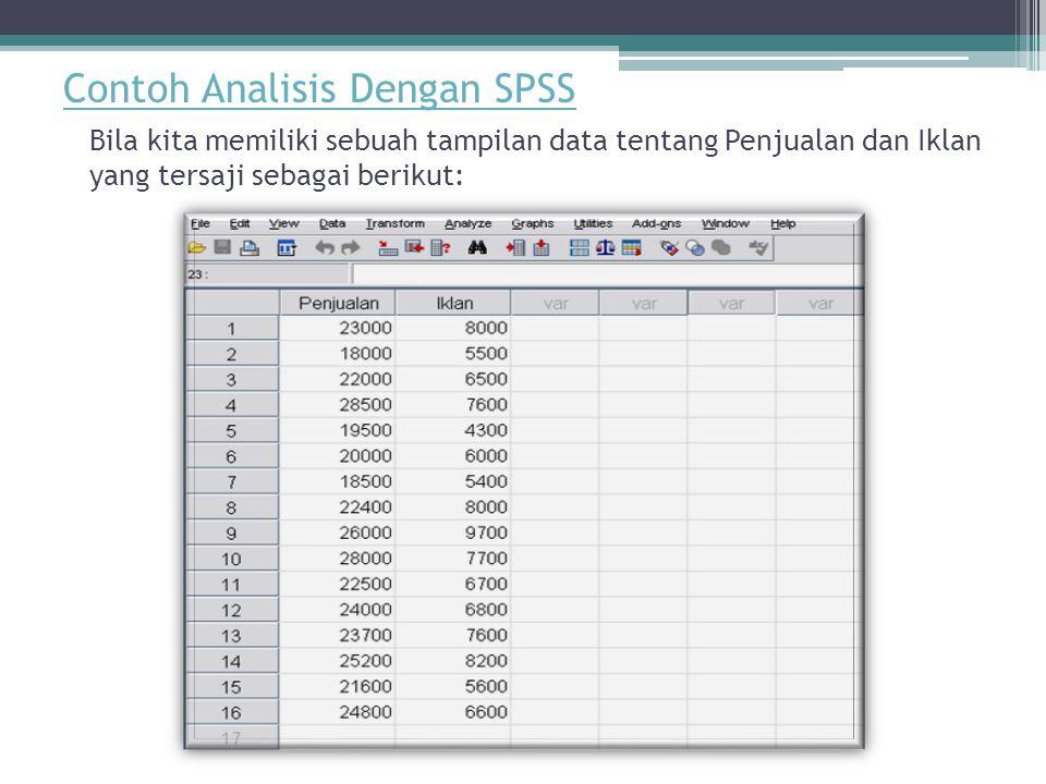 Contoh Analisis Dengan SPSS Bila kita memiliki sebuah tampilan data tentang Penjualan dan Iklan yang tersaji sebagai berikut: