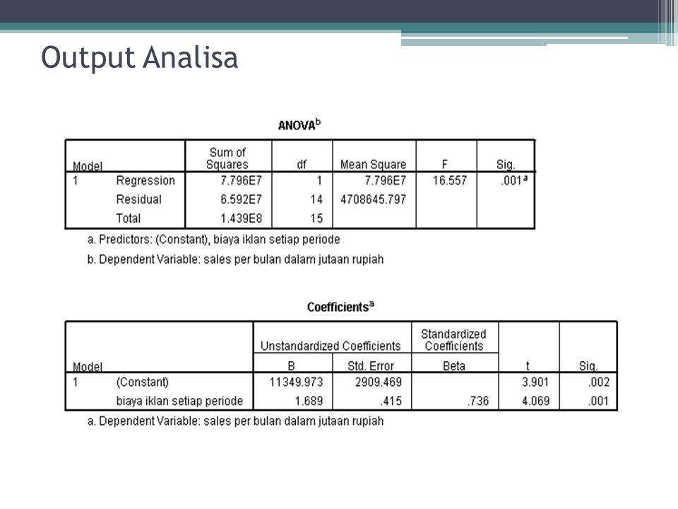 Output Analisa : Diagram Pencar