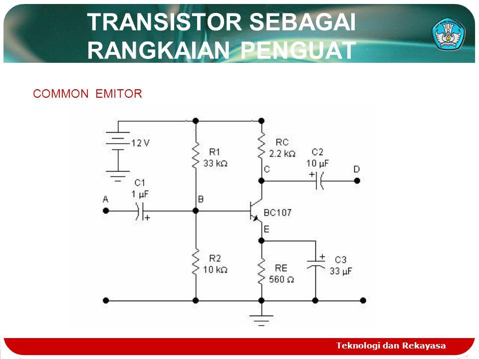 TRANSISTOR SEBAGAI RANGKAIAN PENGUAT Teknologi dan Rekayasa COMMON EMITOR