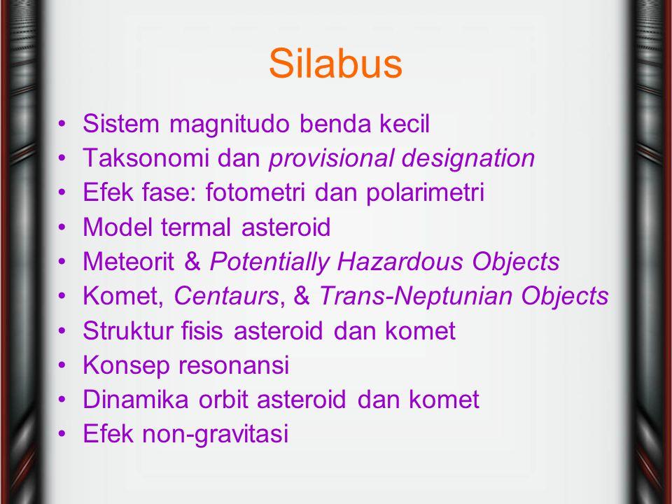 Silabus Sistem magnitudo benda kecil Taksonomi dan provisional designation Efek fase: fotometri dan polarimetri Model termal asteroid Meteorit & Potentially Hazardous Objects Komet, Centaurs, & Trans-Neptunian Objects Struktur fisis asteroid dan komet Konsep resonansi Dinamika orbit asteroid dan komet Efek non-gravitasi