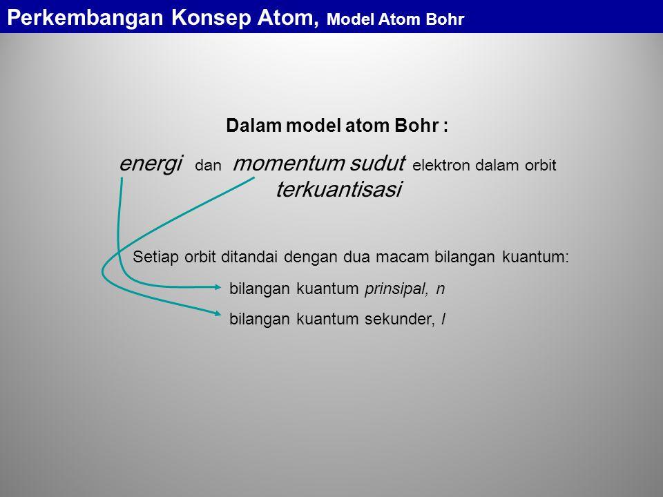 Dalam model atom Bohr : energi dan momentum sudut elektron dalam orbit terkuantisasi Setiap orbit ditandai dengan dua macam bilangan kuantum: bilangan kuantum prinsipal, n bilangan kuantum sekunder, l Perkembangan Konsep Atom, Model Atom Bohr