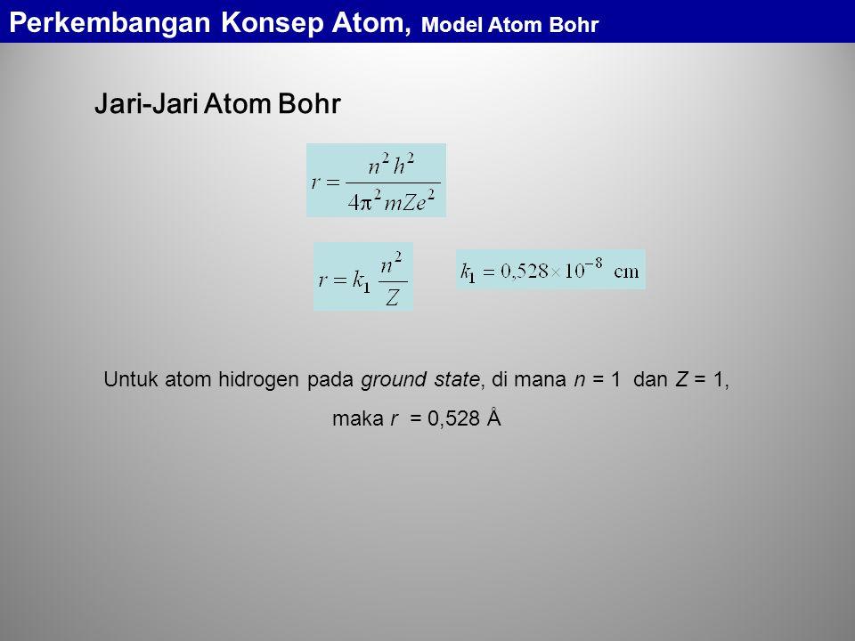 Jari-Jari Atom Bohr Untuk atom hidrogen pada ground state, di mana n = 1 dan Z = 1, maka r = 0,528 Å Perkembangan Konsep Atom, Model Atom Bohr