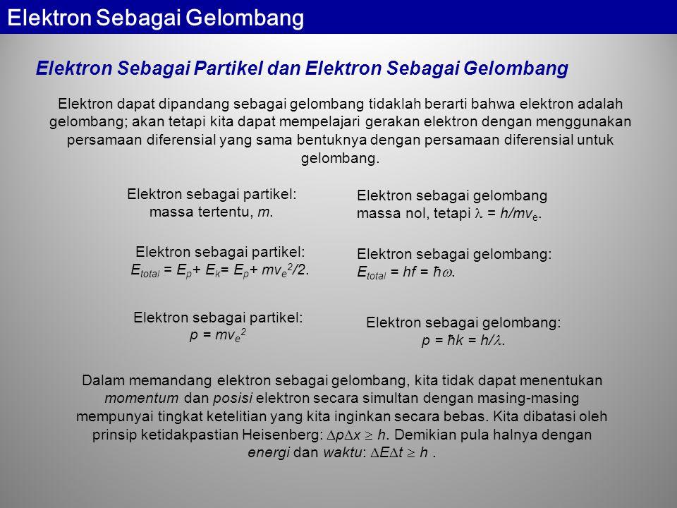Elektron Sebagai Partikel dan Elektron Sebagai Gelombang Elektron dapat dipandang sebagai gelombang tidaklah berarti bahwa elektron adalah gelombang; akan tetapi kita dapat mempelajari gerakan elektron dengan menggunakan persamaan diferensial yang sama bentuknya dengan persamaan diferensial untuk gelombang.