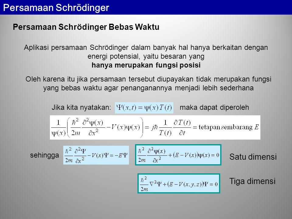 Persamaan Schrödinger Bebas Waktu Aplikasi persamaan Schrödinger dalam banyak hal hanya berkaitan dengan energi potensial, yaitu besaran yang hanya merupakan fungsi posisi Satu dimensi Tiga dimensi Oleh karena itu jika persamaan tersebut diupayakan tidak merupakan fungsi yang bebas waktu agar penanganannya menjadi lebih sederhana Jika kita nyatakan: maka dapat diperoleh sehingga Persamaan Schrödinger