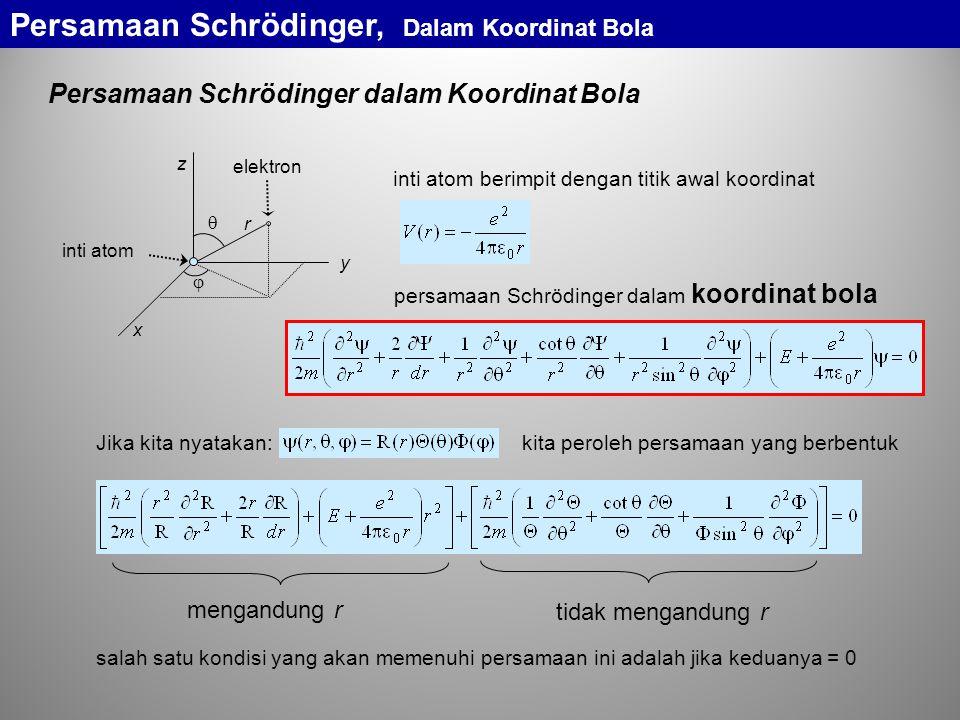 persamaan Schrödinger dalam koordinat bola r   x y z elektron inti atom inti atom berimpit dengan titik awal koordinat Persamaan Schrödinger, Dalam Koordinat Bola mengandung r tidak mengandung r salah satu kondisi yang akan memenuhi persamaan ini adalah jika keduanya = 0 Persamaan Schrödinger dalam Koordinat Bola Jika kita nyatakan:kita peroleh persamaan yang berbentuk