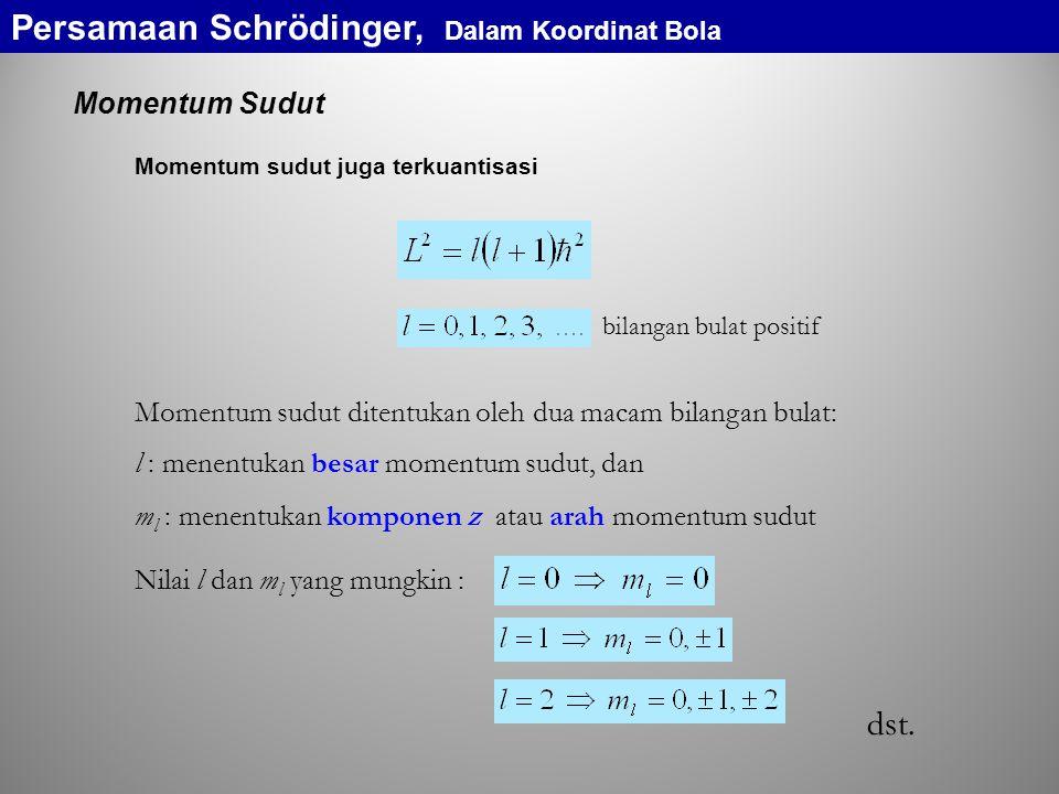 Momentum Sudut Momentum sudut juga terkuantisasi bilangan bulat positif l : menentukan besar momentum sudut, dan m l : menentukan komponen z atau arah momentum sudut Nilai l dan m l yang mungkin : dst.