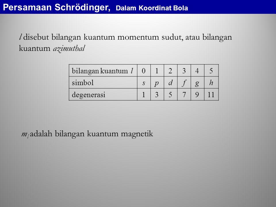 l disebut bilangan kuantum momentum sudut, atau bilangan kuantum azimuthal m l adalah bilangan kuantum magnetik bilangan kuantum l012345 simbolspdfgh degenerasi1357911 Persamaan Schrödinger, Dalam Koordinat Bola