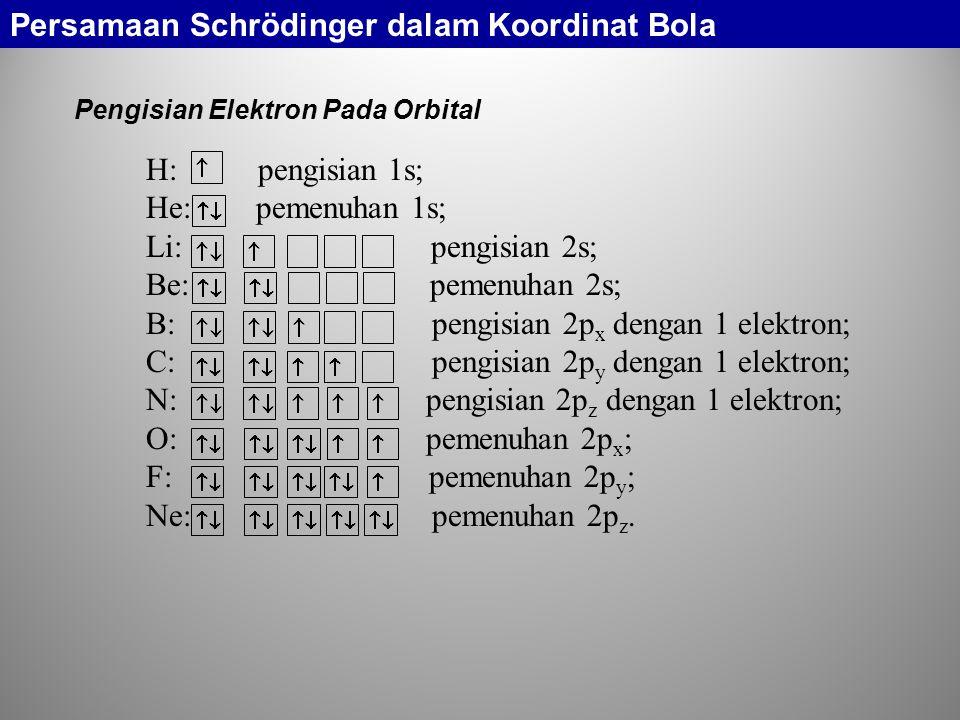 Pengisian Elektron Pada Orbital H: pengisian 1s; He: pemenuhan 1s; Li: pengisian 2s; Be: pemenuhan 2s; B: pengisian 2p x dengan 1 elektron; C: pengisian 2p y dengan 1 elektron; N: pengisian 2p z dengan 1 elektron; O: pemenuhan 2p x ; F: pemenuhan 2p y ; Ne: pemenuhan 2p z.
