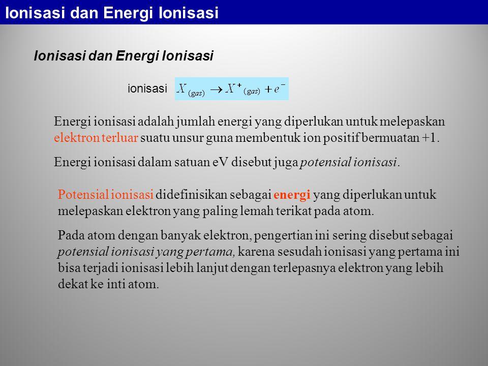 Ionisasi dan Energi Ionisasi Energi ionisasi adalah jumlah energi yang diperlukan untuk melepaskan elektron terluar suatu unsur guna membentuk ion positif bermuatan +1.
