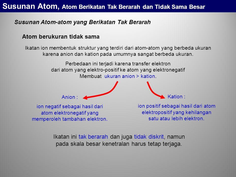 Ikatan ion membentuk struktur yang terdiri dari atom-atom yang berbeda ukuran karena anion dan kation pada umumnya sangat berbeda ukuran.