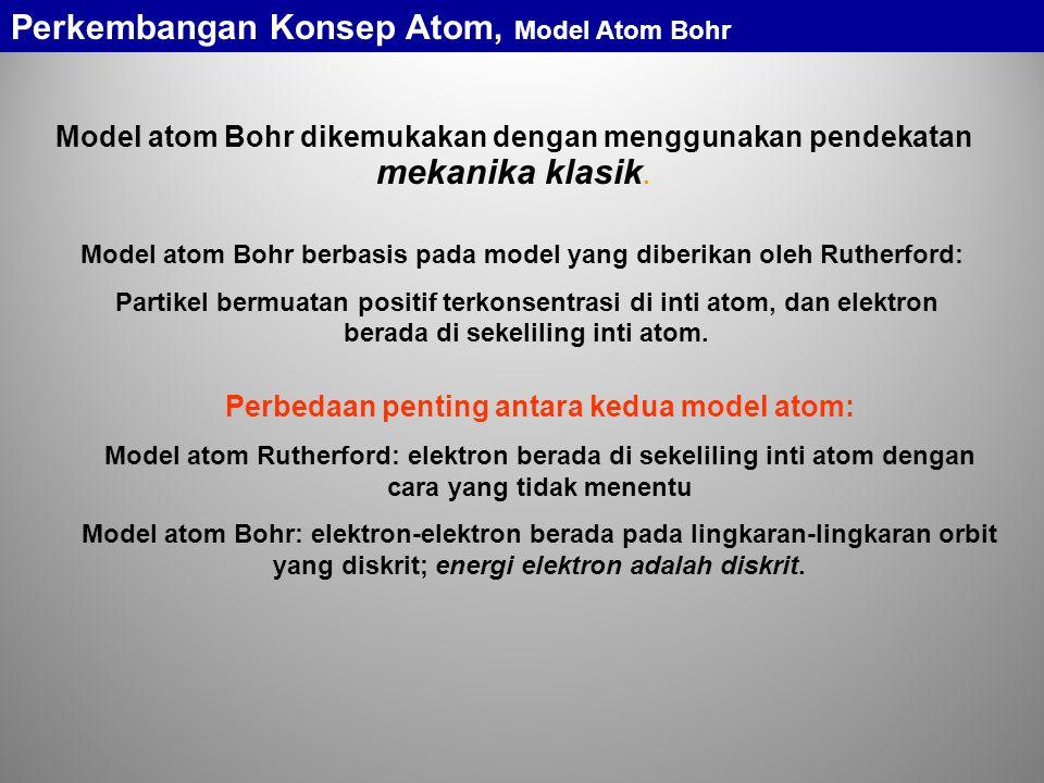 Model atom Bohr berbasis pada model yang diberikan oleh Rutherford: Partikel bermuatan positif terkonsentrasi di inti atom, dan elektron berada di sekeliling inti atom.