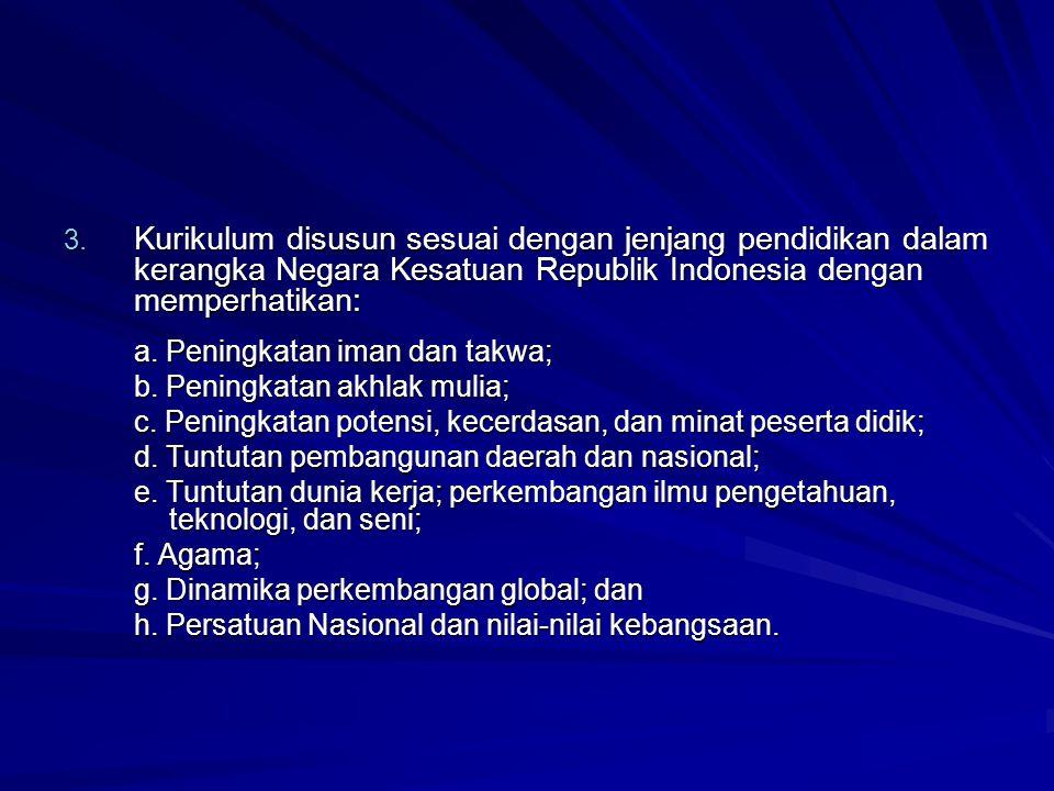3. Kurikulum disusun sesuai dengan jenjang pendidikan dalam kerangka Negara Kesatuan Republik Indonesia dengan memperhatikan: a. Peningkatan iman dan