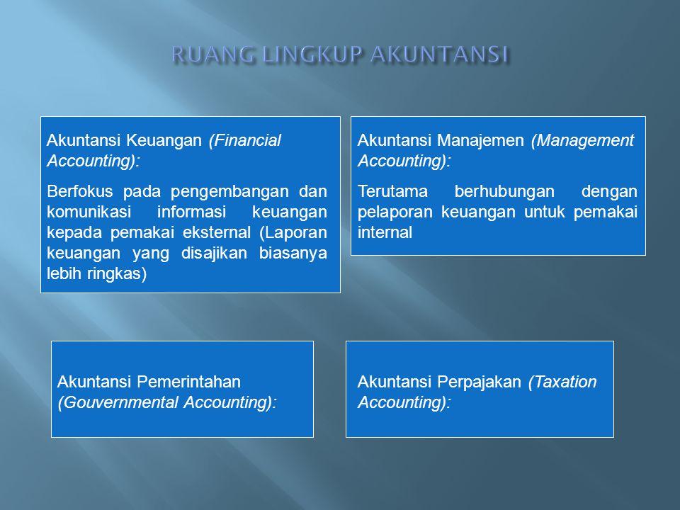 Akuntansi Keuangan (Financial Accounting): Berfokus pada pengembangan dan komunikasi informasi keuangan kepada pemakai eksternal (Laporan keuangan yan