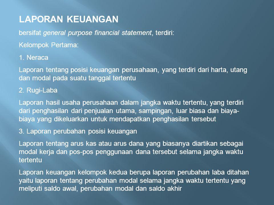 LAPORAN KEUANGAN bersifat general purpose financial statement, terdiri: Kelompok Pertama: 1. Neraca Laporan tentang posisi keuangan perusahaan, yang t