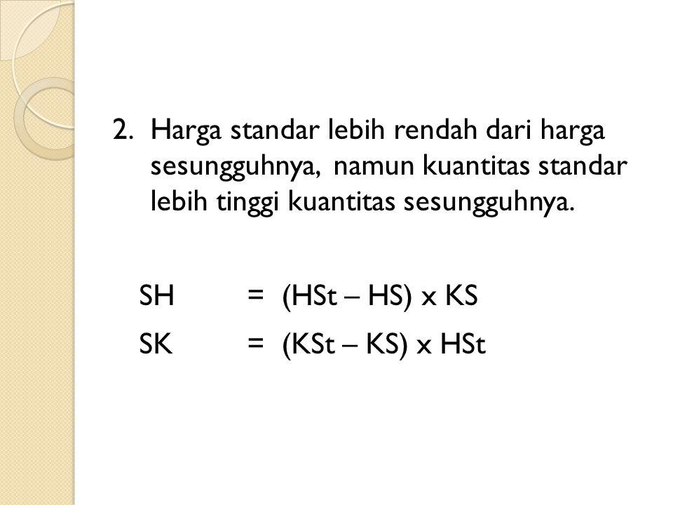 2.Harga standar lebih rendah dari harga sesungguhnya, namun kuantitas standar lebih tinggi kuantitas sesungguhnya. SH= (HSt – HS) x KS SK= (KSt – KS)