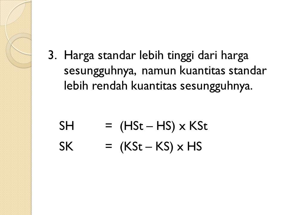 3.Harga standar lebih tinggi dari harga sesungguhnya, namun kuantitas standar lebih rendah kuantitas sesungguhnya. SH= (HSt – HS) x KSt SK= (KSt – KS)