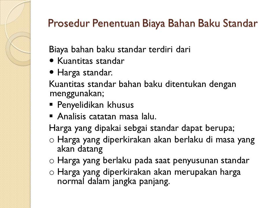 Prosedur Penentuan Biaya Bahan Baku Standar Biaya bahan baku standar terdiri dari Kuantitas standar Harga standar. Kuantitas standar bahan baku ditent