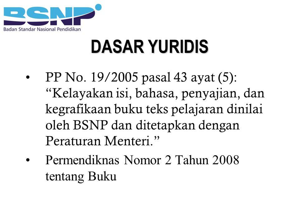 "DASAR YURIDIS PP No. 19/2005 pasal 43 ayat (5): ""Kelayakan isi, bahasa, penyajian, dan kegrafikaan buku teks pelajaran dinilai oleh BSNP dan ditetapka"