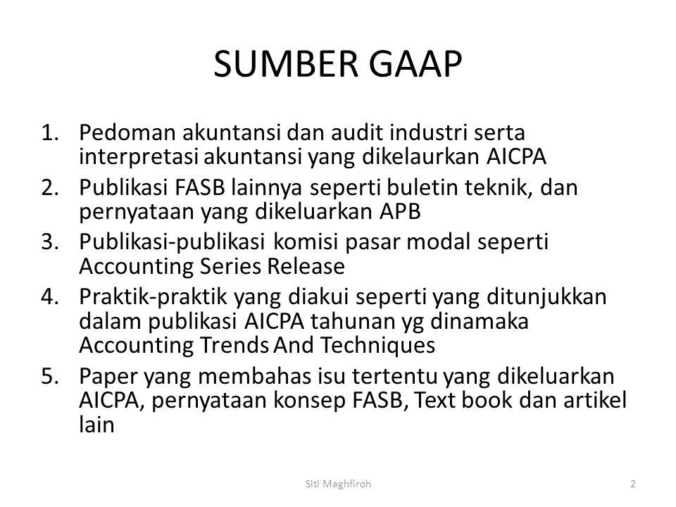 SUMBER GAAP 1.Pedoman akuntansi dan audit industri serta interpretasi akuntansi yang dikelaurkan AICPA 2.Publikasi FASB lainnya seperti buletin teknik