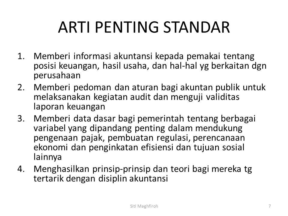 ARTI PENTING STANDAR 1.Memberi informasi akuntansi kepada pemakai tentang posisi keuangan, hasil usaha, dan hal-hal yg berkaitan dgn perusahaan 2.Memb