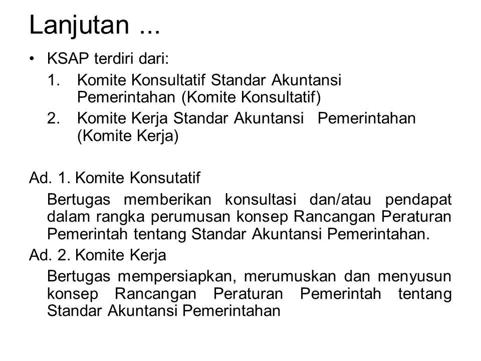 Lanjutan... KSAP terdiri dari: 1. Komite Konsultatif Standar Akuntansi Pemerintahan (Komite Konsultatif) 2. Komite Kerja Standar Akuntansi Pemerintaha