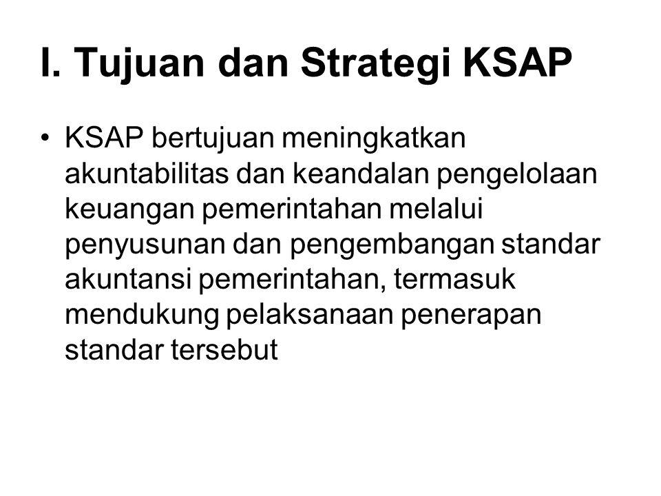 I. Tujuan dan Strategi KSAP KSAP bertujuan meningkatkan akuntabilitas dan keandalan pengelolaan keuangan pemerintahan melalui penyusunan dan pengemban