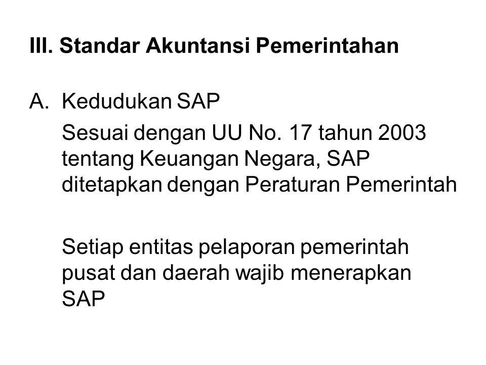 III. Standar Akuntansi Pemerintahan A.Kedudukan SAP Sesuai dengan UU No. 17 tahun 2003 tentang Keuangan Negara, SAP ditetapkan dengan Peraturan Pemeri