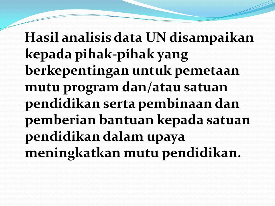 Hasil analisis data UN disampaikan kepada pihak-pihak yang berkepentingan untuk pemetaan mutu program dan/atau satuan pendidikan serta pembinaan dan p